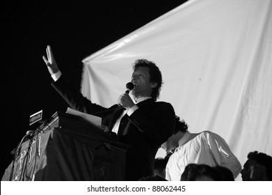 LAHORE, PAKISTAN - OCT 30: Chairman Pakistan Tehreek-e-Insaf Imran Khan speaks during a political rally on October 30, 2011 in Lahore, Pakistan