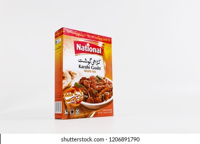 Lahore, PAKISTAN - October 19, 2018. National karahi ghost masala ( mutton spices Food ingredients for mutton masala, indian & pakistani Powder).