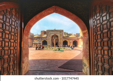 Lahore,Punjab,Pakistan,February 3 2018:The main gate  Wazir Khan Mosque (Name of Mosque)