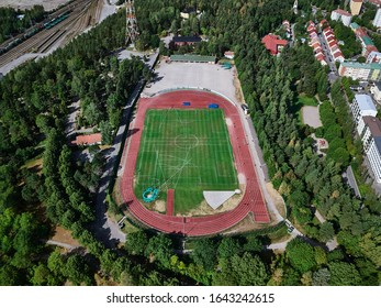 Lahti, Finland - August 6, 2019: Aerial view of the stadium in Lahti, Finland. Outdoor soccer field.