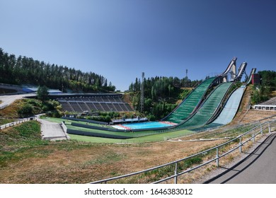 Lahti, Finland - August 6, 2019: Ski Rumps for ski jumping in summer