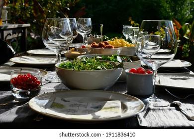 Laid table festive dinner restaurant
