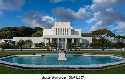 LAIE, HAWAII - JANUARY 26: Laie Hawaii Temple at Naniloa Loop on January 26, 2017 in Laie, Hawaii