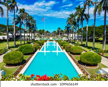 Laie, Hawaii, USA -September 3, 2017: Water Pools at The Church of Jesus Christ of Latter-day Saints Temple (also LDS Church or Mormon Church) on the Naniloa Loop