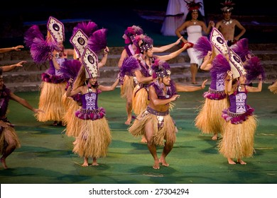 LA'IE, HI - JULY 26: Students perform Tahitian dance at the Polynesian Cultural Center (PCC) July 26th, 2008 in La'ie, HI. The PCC is Hawai'i top paid attraction and supports BYU students.