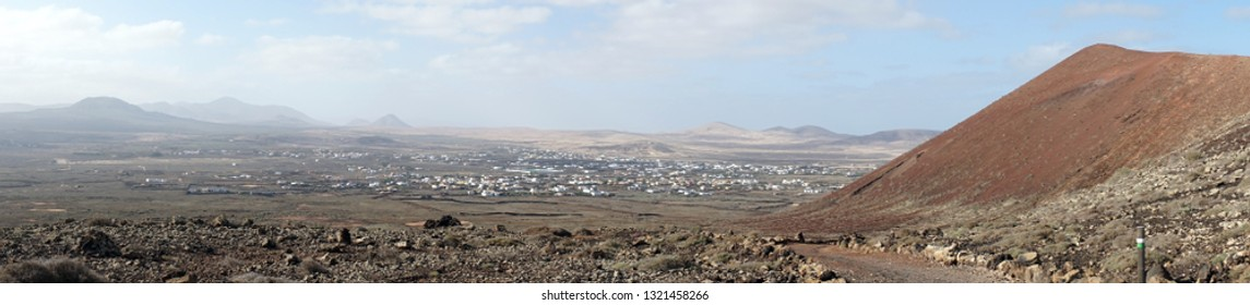 Lajares town and volcano on the Fuerteventura island, Spain