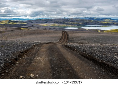 Lakavegur F206 road through Lakagigar volcanic fissure area in South of Iceland, leading to Lambavatn lake.