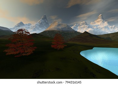 Lake, 3D rendering, an alpine landscape, snow in the mountains, grass on the ground and a beautiful sky.