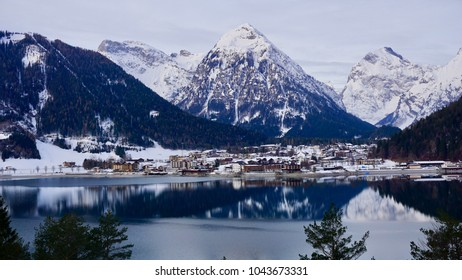 Lake Achensee in the near of the city of Schwaz Tyrol and Achenkirch in winter