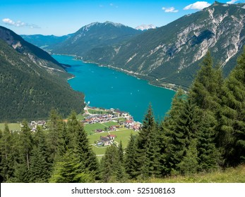 Lake Achensee in Tyrol Austria seen from the Baerenkopf Mountain