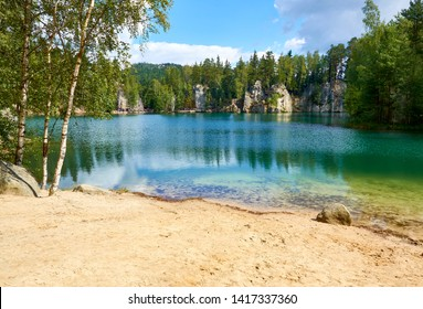 lake in adrspach park, in the north of czech republic