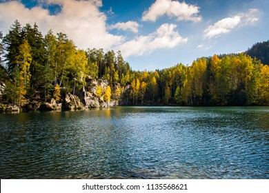 Lake in Adrspach - Teplice Rocks, autumn