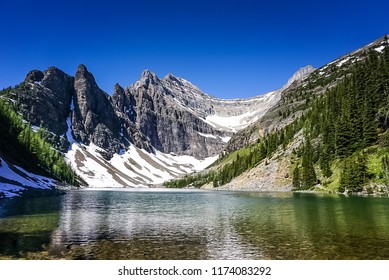 Lake Agnes on Tea House Trail in the Rocky Mountains in Banff National Park in Alberta Canada