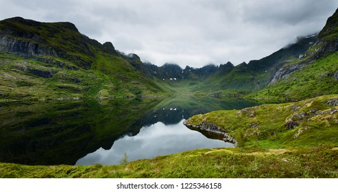 Lake Agvatnet on the Lofoten islands, Norway on a cloudy summer day.