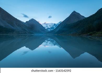 Lake Akkem and Mount Belukha at Sunrise. Altai Mountains. Siberia, Russia
