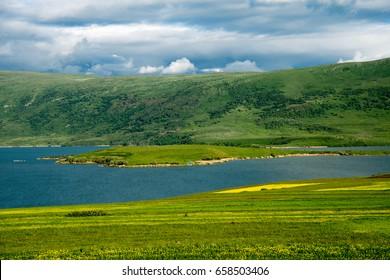 Lake Aktas and Kenarbel Village.Cildir district of Ardahan City.This lake located on Turkish-Georgian border.