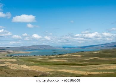 The Lake Aktas located on Eastern of Turkey.Ardahan city,Cildir district.The Georgian border passes middle of Lake Aktas ( In Turkish: Akta? Gölü )