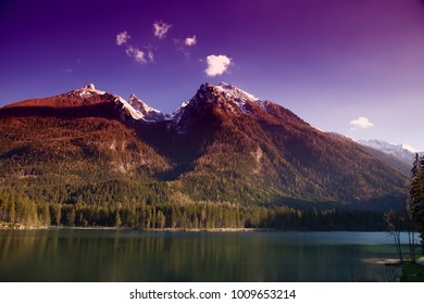 lake with alpine mountains, Bavaria, Germany