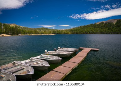 Lake Alpine paddle / motor boats - a popular summer camping, fishing, and swimming destination on Highway 4 - Ebbetts Pass - Alpine County, California