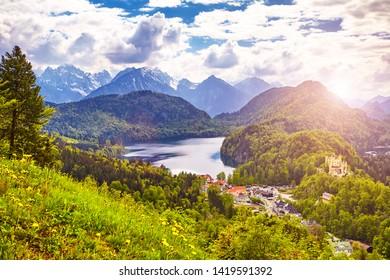 The Lake Alpsee and Schwansee - Alpine lakes and the Hohenschwangau Village, Schwangau, Ostallgau district, Bavaria, Germany