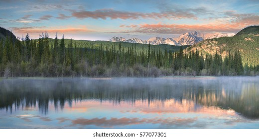 Lake in the Altai mountains at dawn, wonderful sunrise