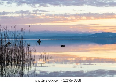 Lake ammersee at Bavaria/Germany. A view over the lake at sunset. in the distance the bavarian alps.