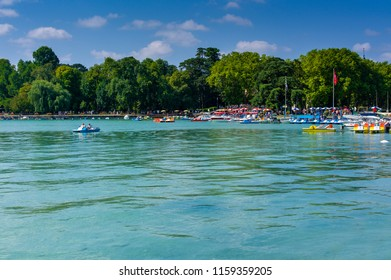 lake Annecy with beautiful boat pedalo vacation dream