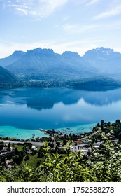 Lake Annecy in France, view from surrounding mountains