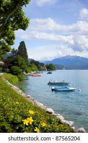Lake Annecy in French region Haut Savoie in Alps