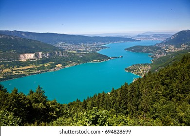 /Lake Annecy/View over Lake Annecy. Town of Annecy at the top. Town of Talloires is at the middle, right side.
