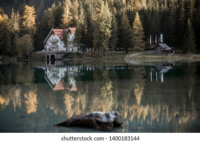 Lake Anterselva in Italy. Image with selective focus and toning