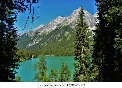 Lake Antholz, well known mountain lake in south tyrol, italy