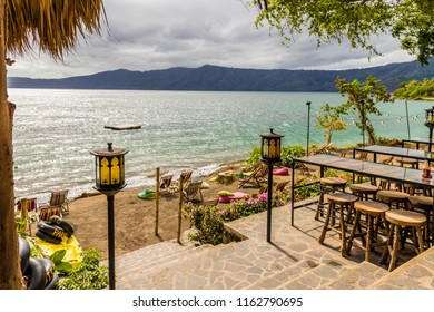 Lake Apoyo, Granada, Nicaragua. February 2018. A typical view from a bar on Apoyo lake Nicaragua