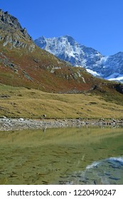 Lake Arpitetta with the Weisshorn in the background. In the Southern Swiss Alps above Zinal
