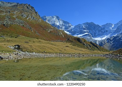 Lake Arpitetta with the Weisshorn and Schallihorn in the background. In the Southern Swiss Alps above Zinal