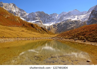 Lake Arpitetta with the Weisshorn and Zinalrothorn in the background. In the Southern Swiss Alps above Zinal