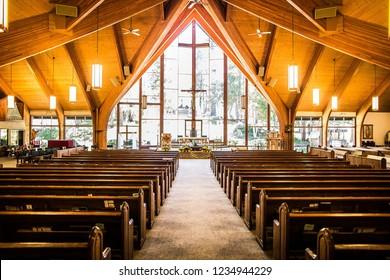 Lake Arrowhead, CA / USA - Apr 20, 2013: Interior of a church in Lake Arrowhead.