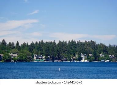 Lake Arrowhead on a sunny day. Lake Arrowhead, California