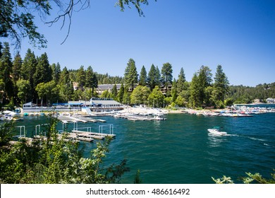 Lake Arrowhead, USA - 16th August 2015: Lake Arrowhead with boats moored on a hot summer's day near Los Angeles, California, USA