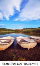 Lake ashore on a small pond near Tihany in Hungary