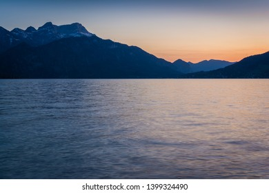 Lake Attersee in the Alps of Austria at dusk