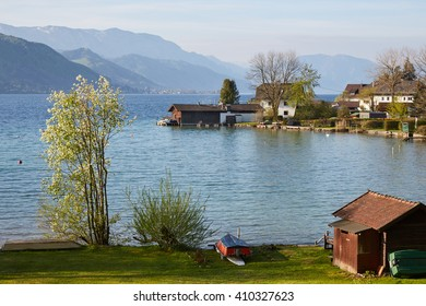 Lake Attersee in the Austrian Salkmammergut in the morning in springtime.