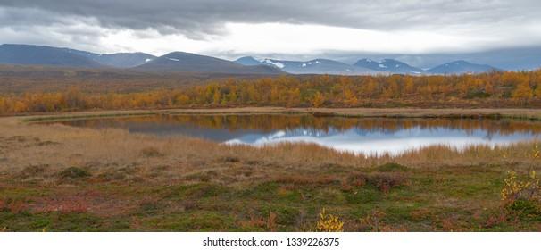 Lake in autumn. Abisko national park in Sweden.
