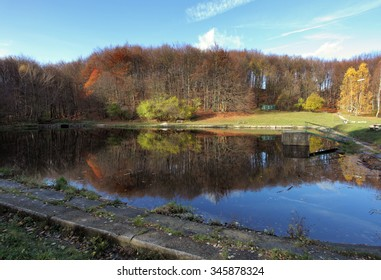 Lake with  autumn forest reflection - Shutterstock ID 345878324