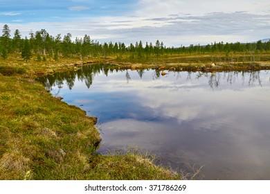 Lake. Autumn. Reflexion. Kolyma