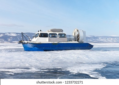 Lake Baikal. The hovercraft Khivus transports tourists from the island of Olkhon through the Small Sea Strait