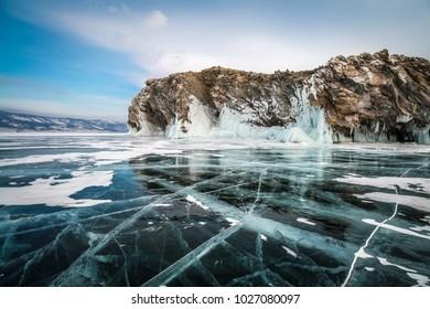 lake Baikal, the ice cracked, island Hubin, winter, landscape