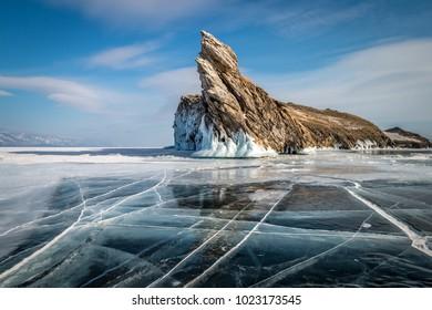 lake Baikal, island ogoy, ice, clear, cracks, winter, day, landscape, rock, stone