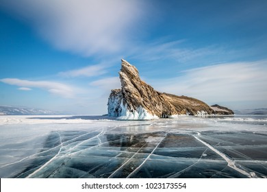 lake Baikal, island ogoy, ice, clear, cracks, winter, day, landscape, rock, stone