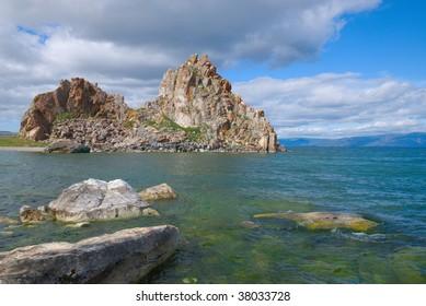 Lake Baikal, island Olkhon, rock of Shamanka, summer